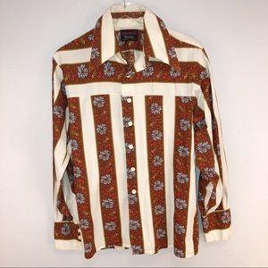 Other - Vintage Retro Printed Western Shirt Large
